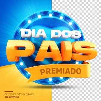 3d render promoção de venda de selo do dia dos pais isolada