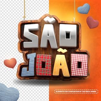 3d render sao joao com corações para festa junina no brasil
