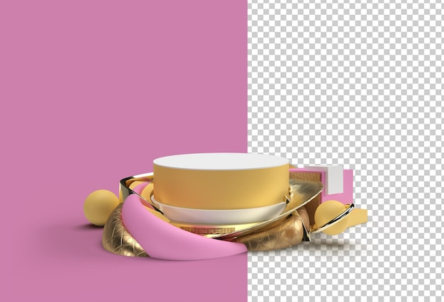 3d render scene de minimal podium scene para display transparent psd file.