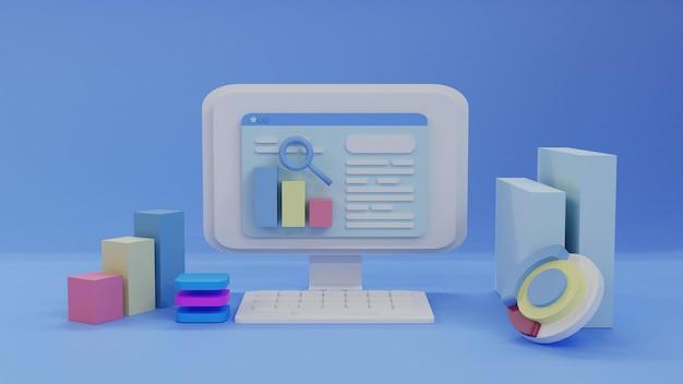 3d render search engine optimization background em vista frontal