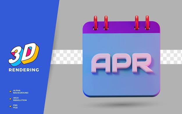3d render símbolo isolado do calendário dos meses de abril para lembrete diário ou planejamento