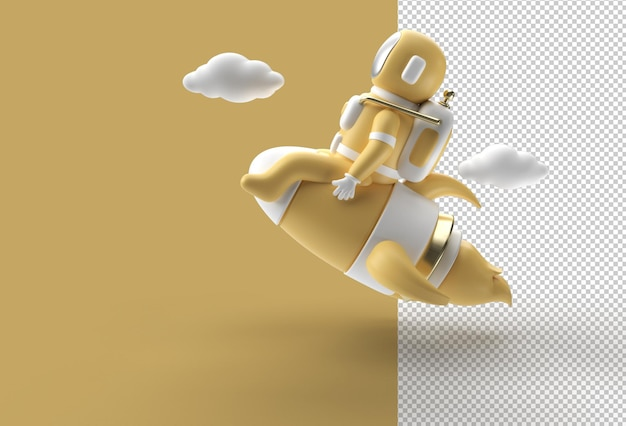 3d render spaceman astronaut flying with rocket transparent psd file.