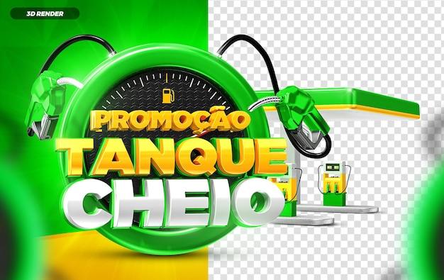 3d render tanque cheio verde e amarelo etiqueta promoção instagram modelo de postagem em mídia social