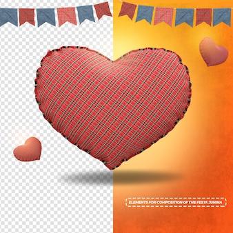 3d render textura de tecido coração com bandeiras para festa junina