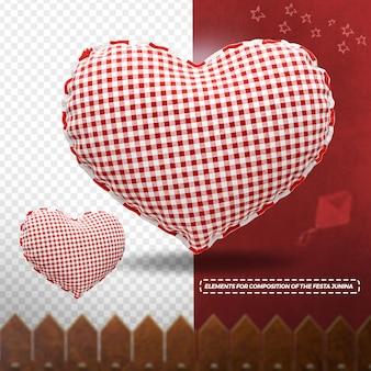 3d render textura de tecido coração com cerca para festa junina