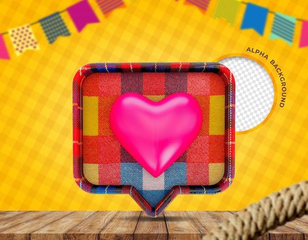 3d render textura de tecido coração festa junina no brasil Psd Premium