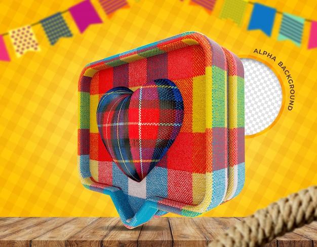 3d render textura de tecido coração festa junina no brasil