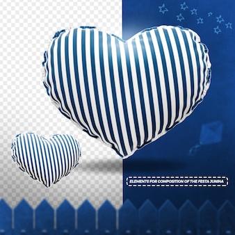 3d render textura de tecido coração para festa junina