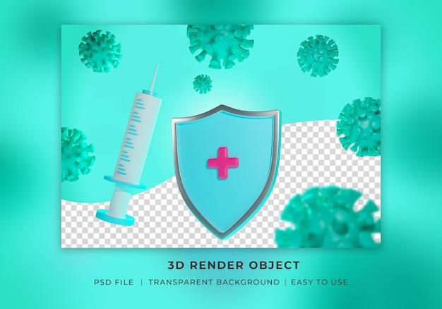 3d render vacina covid 19 com emblema de proteção