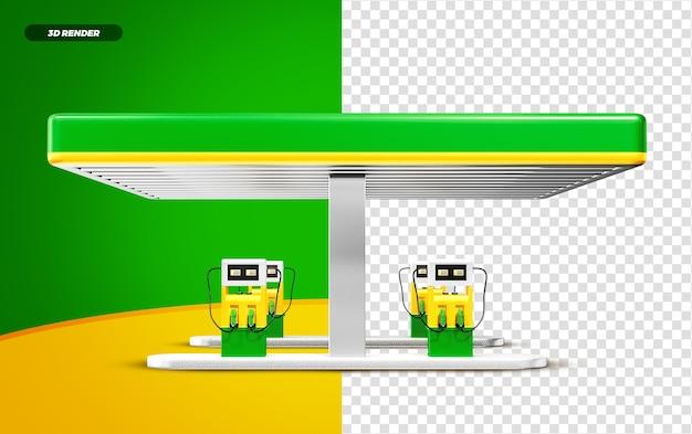 3d render verde e amarelo posto de gasolina isolado para composição