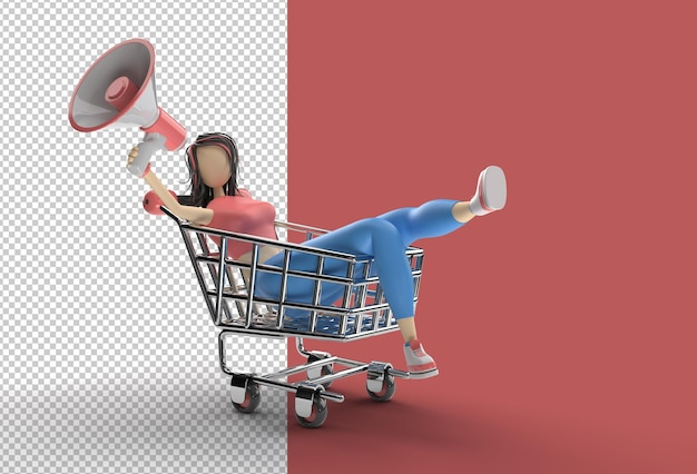 3d render woman with mega phone shopping cart
