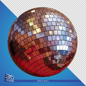 3d rendering discoball party flyer element