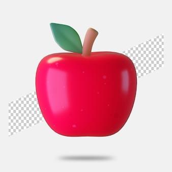 3d renderização de ícone de maçã isolado