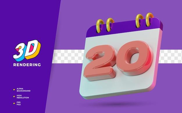 3d renderização de símbolo isolado de calendário de 20 dias para lembrete diário ou planejamento