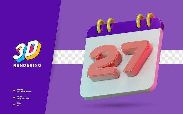 3d renderização de símbolo isolado de calendário de 27 dias para lembrete diário ou planejamento