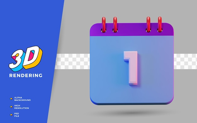 3d renderização de símbolos isolados de calendário de 1 dia para lembrete diário ou planejamento