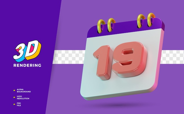 3d renderização de símbolos isolados de calendário de 19 dias para lembrete diário ou planejamento