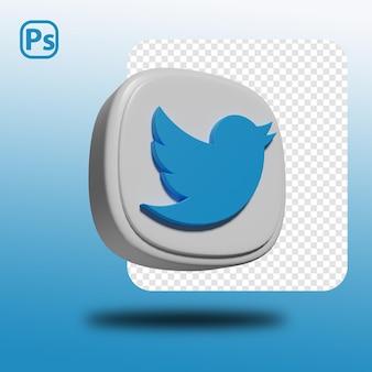 3d renderização do logotipo mínimo do twitter isolado