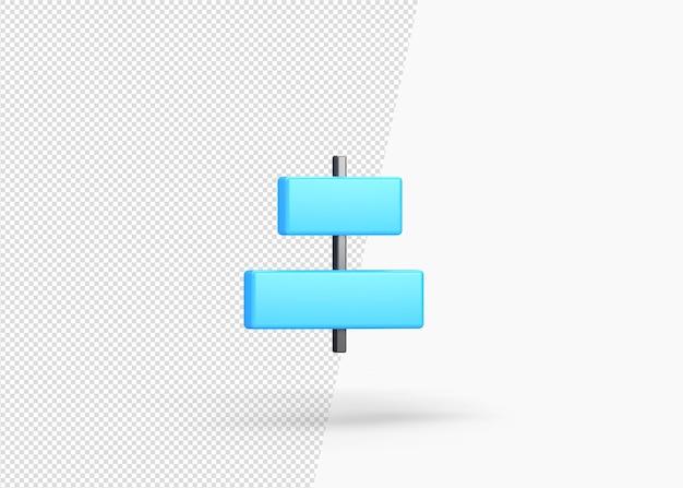 3d renderização horizontal alinhado centro isolado