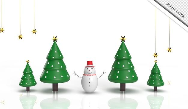 3d renderização realista de árvore de natal com boneco de neve