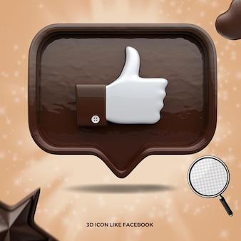 3d renderizado como o ícone do facebook na frente da mensagem do balão de chocolate