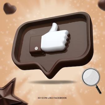 3d renderizado como o ícone do facebook na mensagem certa do balão de chocolate Psd Premium