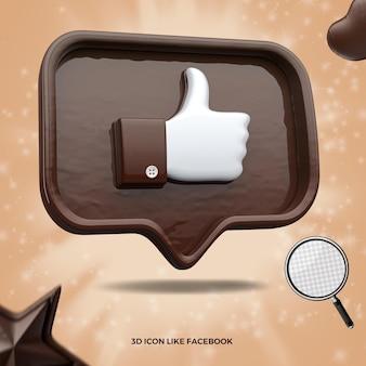 3d renderizado como o ícone do facebook na mensagem do balão de chocolate esquerdo