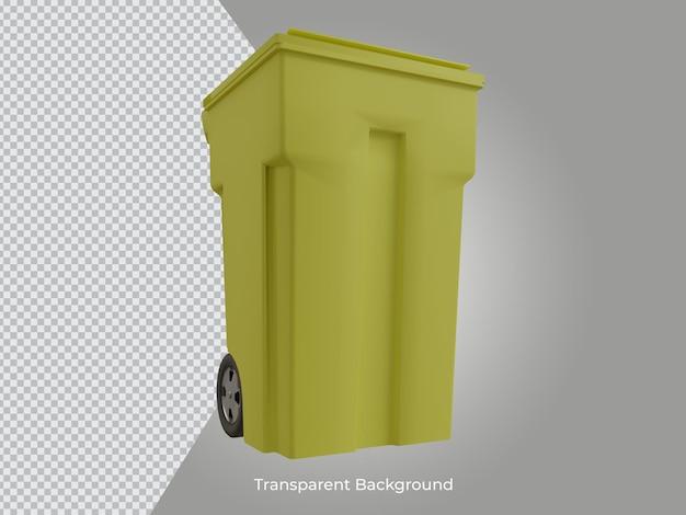 3d renderizado de alta qualidade da lata de lixo transparente na frente do ícone