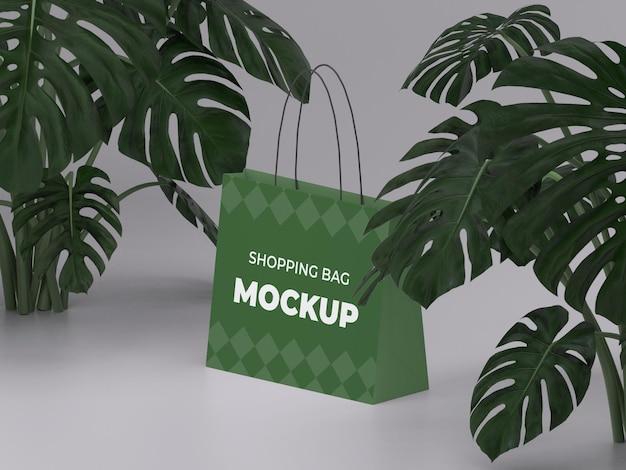 3d renderizado de alta qualidade personalizável com maquete de sacola de compras da natureza