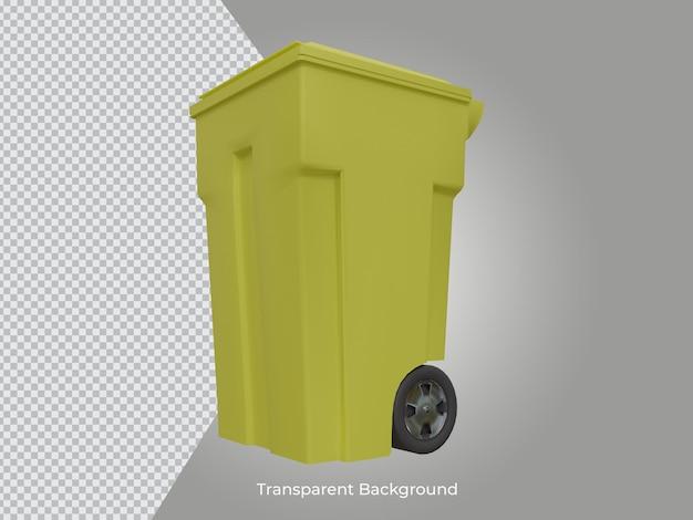3d renderizado ícone transparente de lata de lixo de alta qualidade