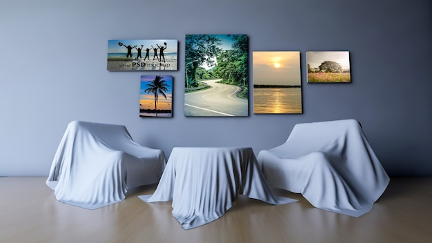 3d rendido mesa redonda e sofá que coberto por tecido