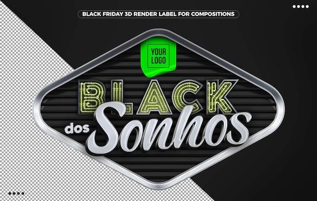3d rótulo preto dos sonhos em verde para composição no brasil
