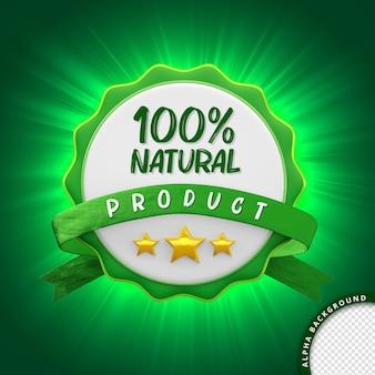3d selo 100 produto natural para composição