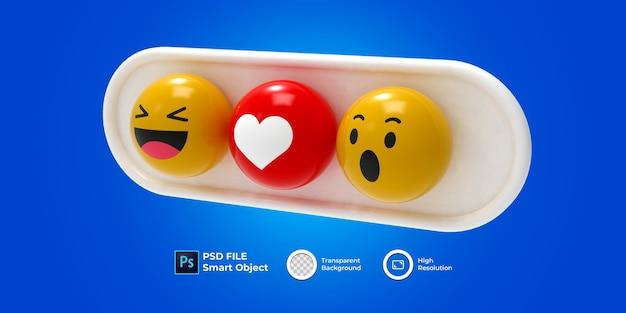 3d set emoji 3d render isolado