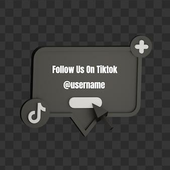 3d siga-nos no tiktok simulação de nome de usuário nas redes sociais