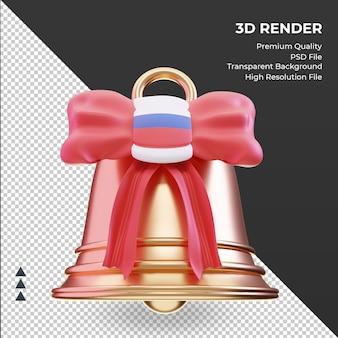 3d sino de natal com vista frontal de renderização da bandeira russa
