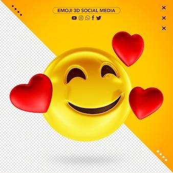3d sorrindo emoji amoroso para mídias sociais
