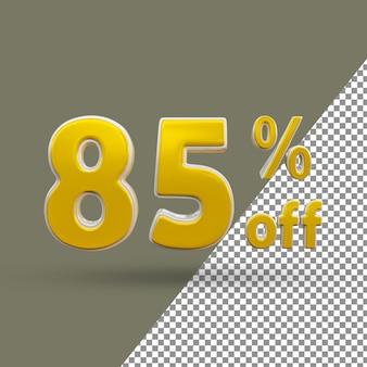 3d texto dourado número 85 por cento de desconto