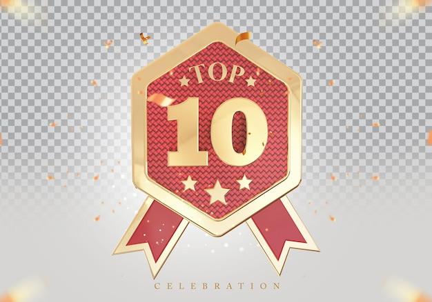 3d top 10 de melhor pódio prêmio sinal dourado