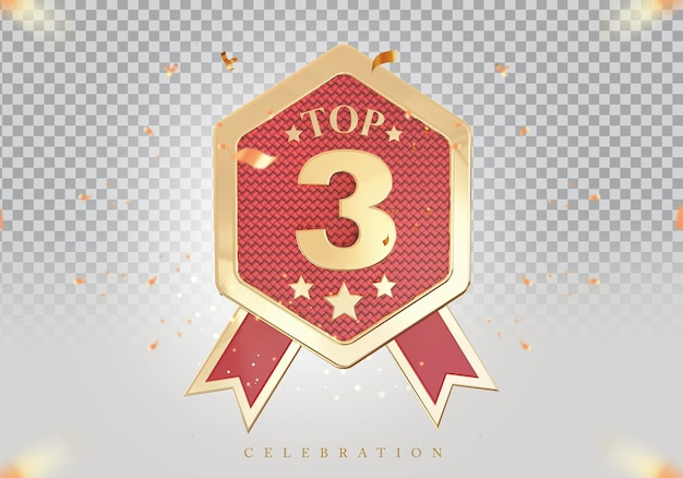 3d top 3 de melhor pódio sinal de prêmio dourado