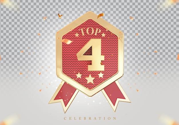 3d top 4 de melhor pódio sinal de prêmio dourado
