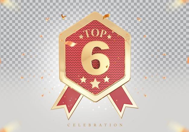 3d top 6 de melhor pódio sinal de prêmio dourado