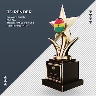 3d troféu bandeira de gana renderizando vista direita