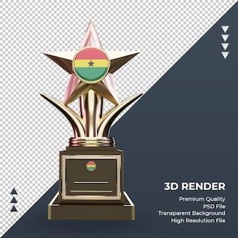 3d troféu bandeira de gana renderizando vista frontal