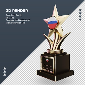 3d troféu bandeira russa renderizando vista direita