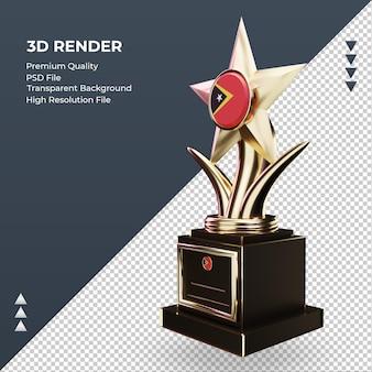 3d troféu bandeira russa renderizando vista direita Psd Premium