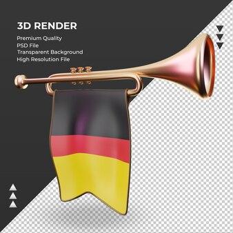 3d trompete bandeira da alemanha renderizando vista direita