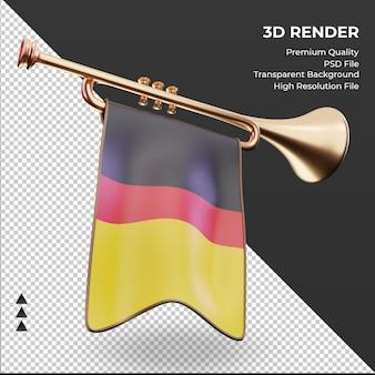 3d trompete bandeira da alemanha renderizando vista esquerda