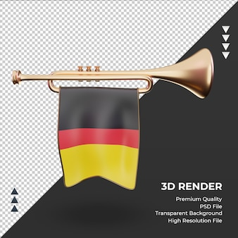 3d trompete bandeira da alemanha renderizando vista frontal