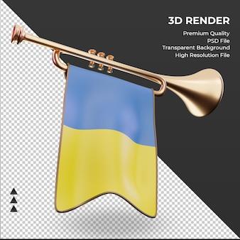 3d trompete, bandeira da ucrânia, renderizando a vista esquerda